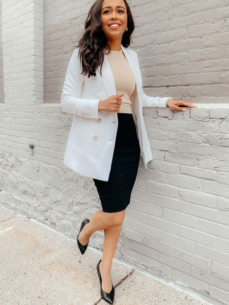 Styling my Spanx Black Pencil Skirt with a linen blazer & contour tank! My blazer is 50% off today (when you add to cart) and my contour tank is 25% off! Both my blazer and tank are from Express! Screenshot this pic to get shoppable product details with the @liketoknow.it shopping app: http://liketk.it/3gAz3 #liketkit #LTKworkwear #LTKsalealert