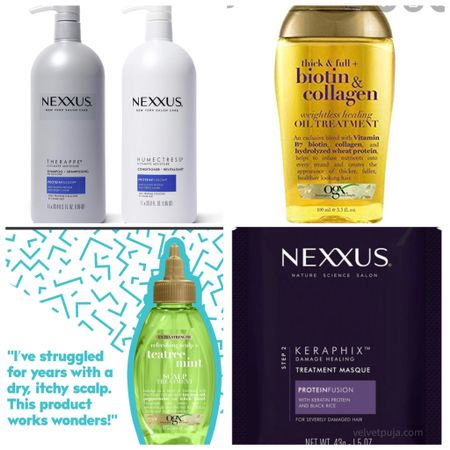 PSLS free hair care for gentle everyday hair care!  Shampoo and conditioner value set OGX, NEXXUS  leave in hair oil treatment, scalp treatment for dryness