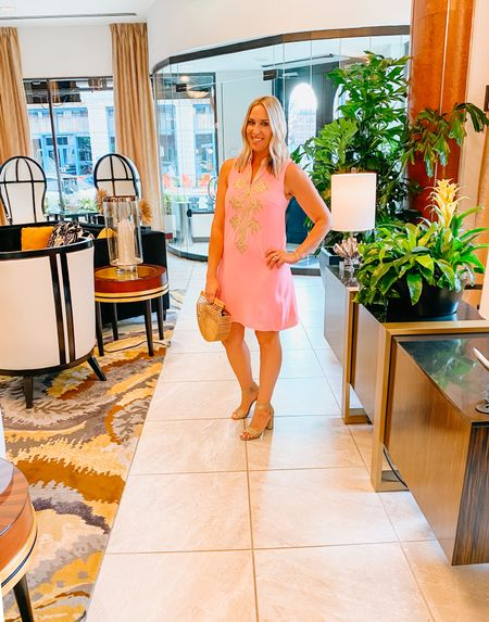 Lilly Pulitzer dresses are some of the best! Their detail, fit and material are hard to beat. This is a classic style made each season indifferent colors.   Bamboo bag  Summer dresses, wedding guest dress, shift dress, Lilly Pulitzer, pink dress     #LTKstyletip #LTKwedding #LTKtravel