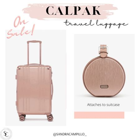 Rose gold carry on suitcase and cute handbag that attaches to suitcase is on sale. The handbag is final sale so grab it before it's gone. I'm ready for a luggage refresh. Are you?   #rosegoldluggage #Calpak #suitcase #travelessentials #rosegoldminibag  #LTKsalealert #LTKunder50 #LTKtravel