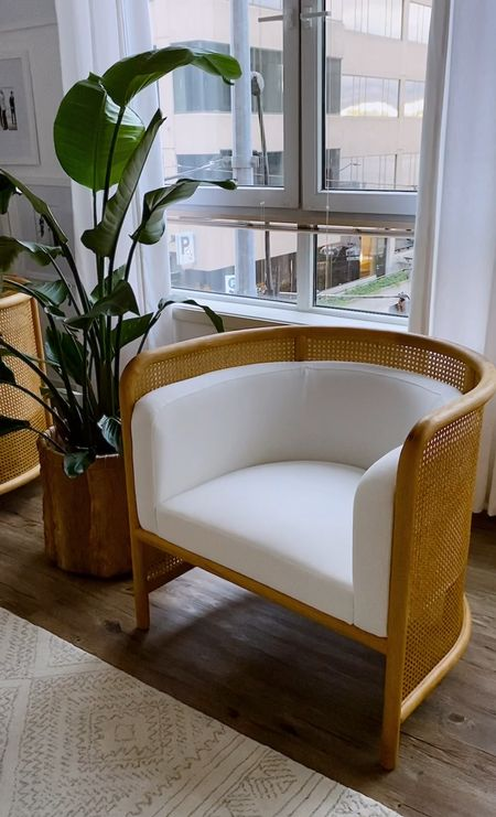 Fields Cane Back White Accent Chair   #LTKhome #LTKfamily #LTKstyletip