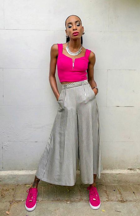 Rock this pony tail with my pink crop top was a great statement piece.  Updates on this look can be found on my blog. See link in bio @liketoknow.it http://liketk.it/2wGXT #liketkit