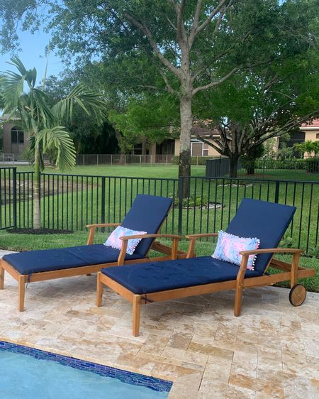 Completely obsessed with my new lounge chairs from @Amazon! They're a classic wood on wheels, have a tiny table that pops out, won't break the bank and pair perfectly with my @lillypulitzer pillows. Now I can lounge with a cocktail by the pool while the kids play! #patioinspo #patiofinds #poolside #amazon #lillypulitzer #ltkseasonal #competition http://liketk.it/3frEL @liketoknow.it #liketkit #LTKhome #LTKfamily #LTKswim @liketoknow.it.home You can instantly shop my looks by following me on the LIKEtoKNOW.it shopping app