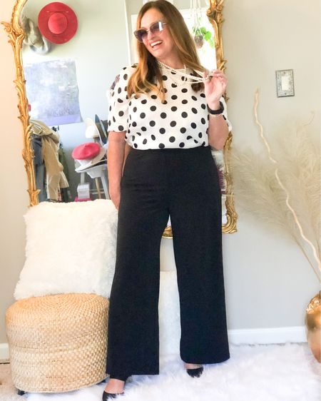I have always loved polka dot prints!  This easy satin tee well never go out of style #gifted @lovechicos. Add the comfort of a wide leg pant that is perfect for travel and the bedt quality . Add some pearl strands and cat eye shades to gives you a retro hollywood vibe. What is your favorite print? . . . . . http://liketk.it/3bXgL #LTKunder100 #LTKstyletip #LTKSpringSale #liketkit @liketoknow.it @liketoknow.it.family @liketoknow.it.home Download the LIKEtoKNOW.it shopping app to shop this pic via screenshot