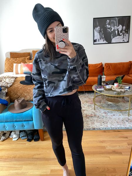 Camo Sweatshirt Cropped sweatshirt Sweatpants Lou & Grey Casual outfit Beanie  Fall outfit   #LTKunder50 #LTKstyletip