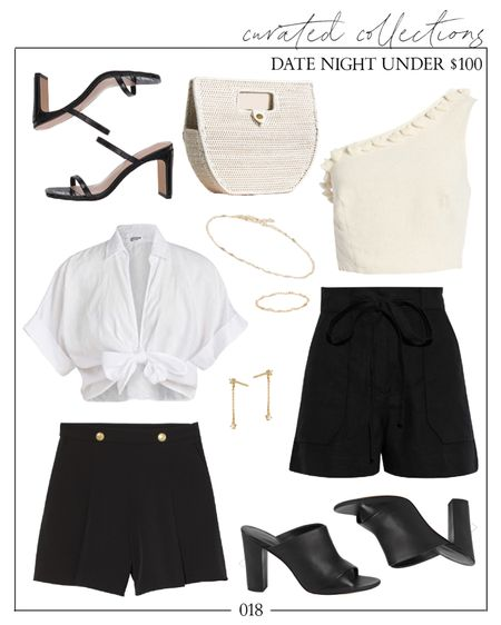 Black shorts, white top, dressy shorts, one shoulder top, black heels | A little summer date night outfit inspiration with H&M finds to create a black shortd outfit with affordable summer fashion under $100.   #datenightoutfit #datenightoutfits #blackshortsoutfit #blackshorts #blacksandals #whiteclutch #whitetop #blackheels #blackmules #summerfashion #summeroutfits #dressyshorts #hmfinds #h&mfinds #oneshouldertop #affordablesummerfashion  #LTKSeasonal #LTKunder100 #LTKunder50