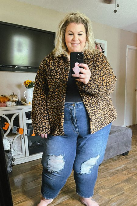 This plus size fall outfit is so cute and cozy! This leopard plus size shacket is under $23 and comes in tons of colors!   #LTKunder50 #LTKSeasonal #LTKcurves
