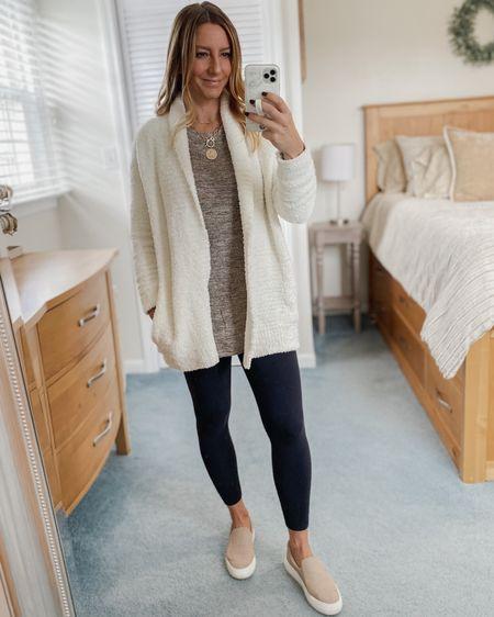 Fleece cardigan, long sleeve sweater, leggings, slip on shoes  http://liketk.it/31Cfq #liketkit @liketoknow.it #LTKunder50 #LTKstyletip