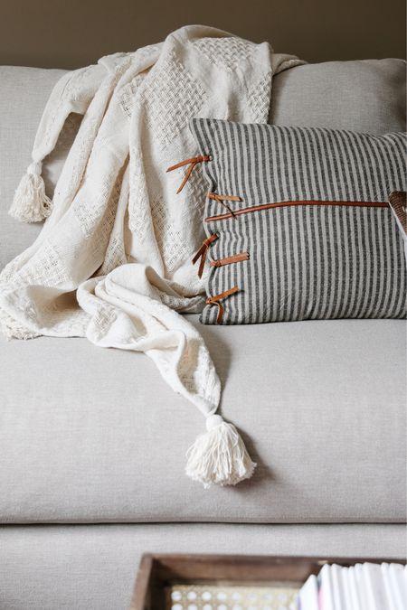 Fall throw pillows, neutral throw blanket with tassels   #LTKunder50 #LTKhome #LTKSeasonal
