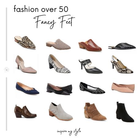 Fashion over 50 with an eclectic collection of shoes for so many looks. Flats, mules, low heeled pumps, and booties. #fashionover50 #shoes #pumps #mules #flats #booties #affordable #inspiremystyle #LTKstyletip #liketkit @liketoknow.it Download the LIKEtoKNOW.it app to shop this pic via screenshot http://liketk.it/2Yp3m