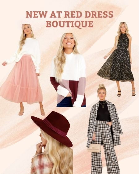Winter style from Red Dress Boutique  Pink skirt, black and gold dress, colorful sweaters, plaid coat, dress pants, red hat  #LTKunder100 #LTKunder50 #LTKstyletip