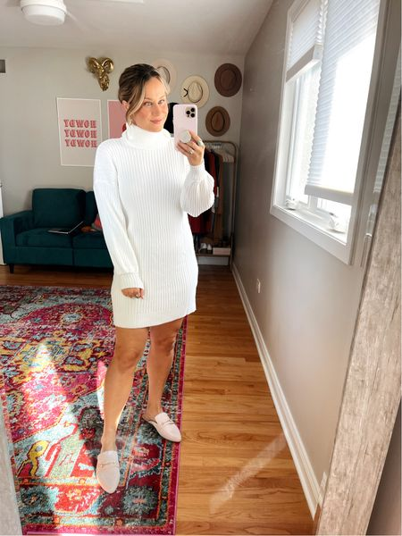 Amazon finds for fall: obsessed with this sweater dress, this white dress and beige mules are both amazon fashion finds! This outfit would be so cute for fall family photos!   #LTKfamily #LTKstyletip #LTKunder50