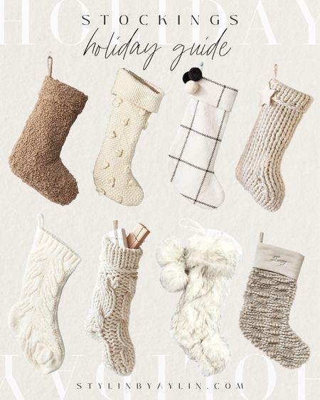 Holiday  guide, stockings, Christmas stockings, Christmas home decor, seasonal decor, neutral home decor, StylinAylinHome   #LTKHoliday #LTKSeasonal #LTKunder100