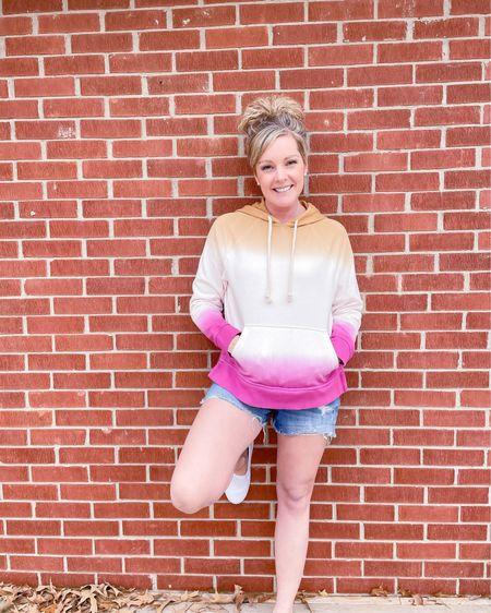 Target ombré universal thread hooded sweatshirt size medium / Target cut off blue Jean shorts sized up one size - wearing size 6 / white slip on shoes / spring fashion / outfit / style http://liketk.it/3eYBA #liketkit @liketoknow.it #LTKunder50 #LTKstyletip #LTKsalealert