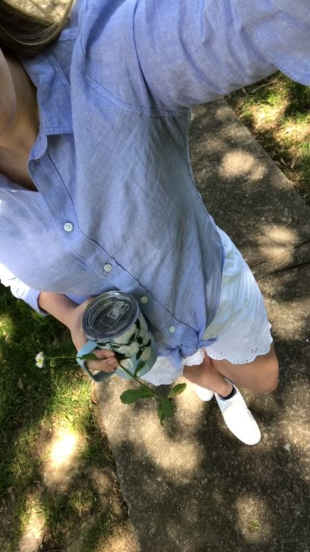 I'll be living in this linen button down for the rest of spring and summer!   #LTKbump #LTKstyletip #LTKSeasonal http://liketk.it/3fbig @liketoknow.it #liketkit