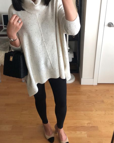 I'm pretty certain I'll be living in this poncho sweater (size XXS regular is an oversized fit on me) and leggings (I tool my usual size 0P) for the next few months. 😅 They're currently 50% off + FREE shipping @loft with code SURPRISE. Sale ends tonight at 3AM ET. @liketoknow.it http://liketk.it/2xzvq #liketkit #LTKsalealert #LTKstyletip #LTKshoecrush #LTKunder100 #LTKunder50