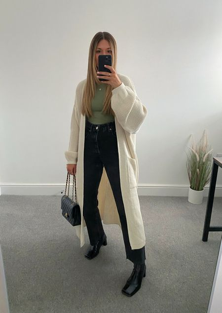 10 ways to wear a maxi cardigan 👉🏼   The perfect transitional layer for those 'in between' outfits. I wasn't much of a cardigan wearer until this came along and now it's all I want to wear.  6. Pop of colour bodysuit and heeled boots     #LTKunder50 #LTKstyletip #LTKeurope