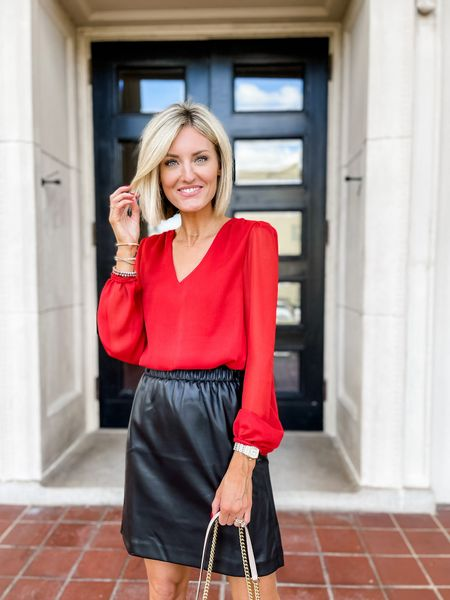 Loverly Grey has paired this red top with a faux leather skirt and is wearing an xxs!  #LTKstyletip