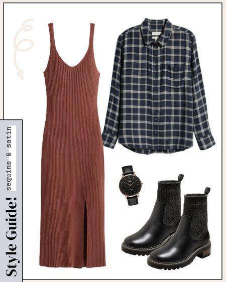 Loving this fall look with the sweater dress and flannel! All items are super affordable too🙌 #targetstyle #targetfinds #combatboots #flannel #sweaterdresses  #LTKunder100 #LTKshoecrush #LTKstyletip