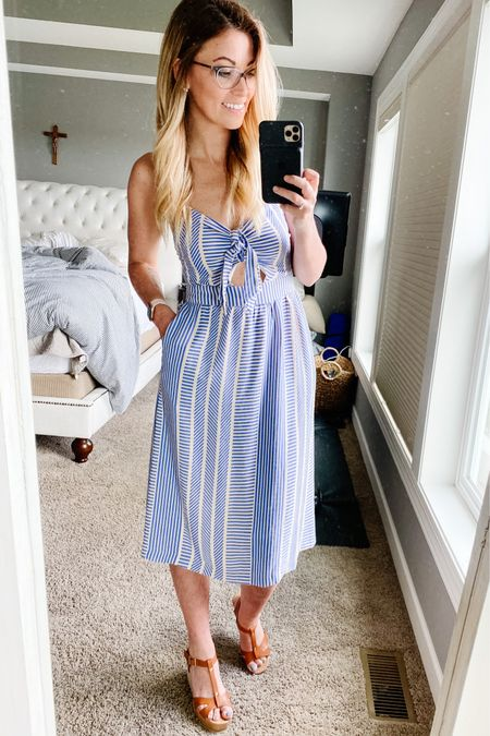 The perfect summer dress for any occasion. I love the pockets, small bow detail, and the keyhole front. Straps are adjustable and fits true to size. It's so flattering on!  #liketkit @liketoknow.it http://liketk.it/3fUPP #lulus #LTKdresses #LTKsummer