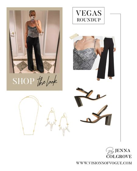 Vegas outfit: black pants (also amazing for work), leopard silk camo top from Express, comfortable heels from a sustainable fashion brand, and Kendra Scott jewelry! http://liketk.it/3hdzn #liketkit @liketoknow.it #LTKunder100 #LTKsalealert #LTKstyletip