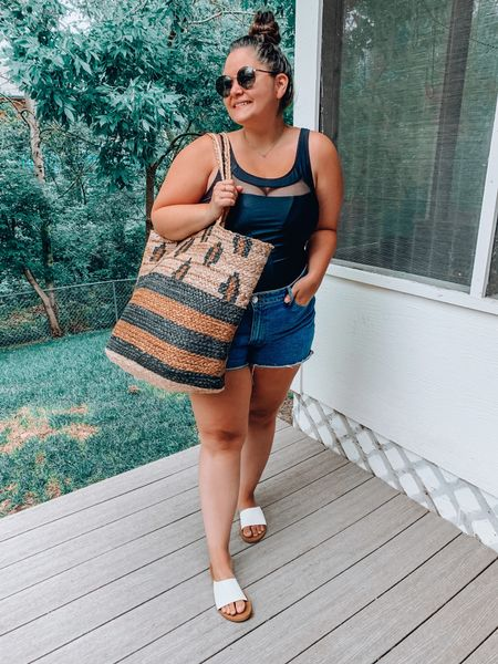 Beach ready! ✨ In love with my new swimsuit (TTS), super flattering & comes in several colors/patterns. Swimsuits are not my friend; sizing is always off & ends up being wayyy too revealing so this was is gold 👏🏼 also, look at my bag 😍 it's so gorgeous and completely made of burlap! 🧡 Shop this look 👉🏼 http://liketk.it/2QW7V @liketoknow.it #liketkit or //👇🏼SHOP MY OUTFITS rainiyvonne.com/shop-my-ltk  #LTKcurves #LTKswim #LTKunder50  Swimsuit, one piece, beach outfit, summer outfit, beach bag, tote, lake outfit, swimwear, curvy, petite, slip one, jean shorts, Walmart, Amazon, target, accessories