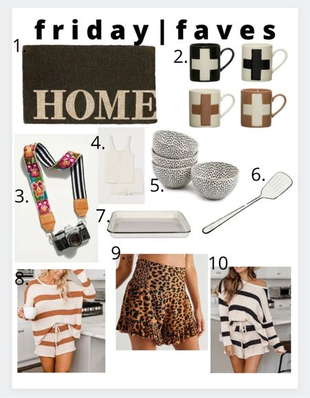 Friday faves!  1.) love this simple door mat  2.) my favorite mugs ever just restocked  3.) adorable camera strap  4.) the most comfy cotton pajamas  5.) adorable polka dot bowls  6.) enamel spatula. Enough said!  7.) enamel serving tray  8.) super cute and comfy lounge outfit  9.) adorable + comfy cheetah print shorts  10.) and of course in black and white   #LTKstyletip #LTKunder100 #LTKhome