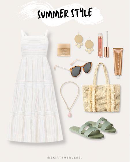 LOFT, summer outfit, beach vacation, summer style, date night outfit, casual dress, summer dress, white dress, white maxi dress, straw tote bag, straw bag, mint slide sandals, tortoise sunglasses, pink necklace, gold disc earrings, gold statement earrings. @liketoknow.it http://liketk.it/3gv1s #liketkit #ltkseasonal  #LTKunder100 #LTKunder50 #LTKstyletip