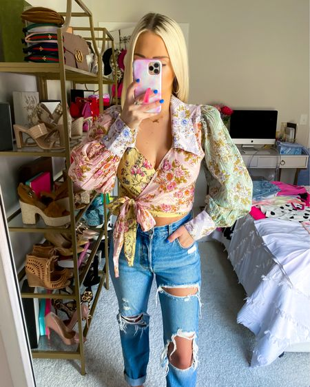 Lucky Penny wrap top (size: XS) with Levi's 501 straight jeans (size: 24) and pink draya slide sandals!! http://liketk.it/3jCSW @liketoknow.it #liketkit