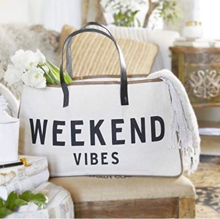 ☀️Happy weekend friends!! I'm loving this fun tote! It's made of great quality canvas and is the perfect size to hold all the things!! Comes in a ton of fun captions and for under $40 you can't go wrong!! #weekendvibestote #weekendvibes #tote #totebag #summertote #amazontote #funtote  #LTKunder50 #LTKitbag #LTKfamily