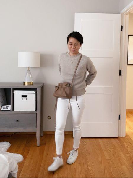 Winter whites with cozy recycled fleece and skinny white jeans.   #LTKNewYear #LTKunder50 #LTKunder100