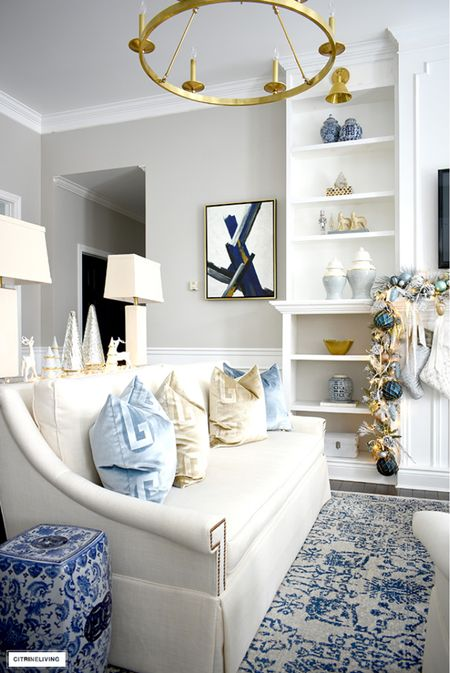 Christmas decor in elegant silver, gold and blue  #LTKhome #LTKHoliday #LTKstyletip