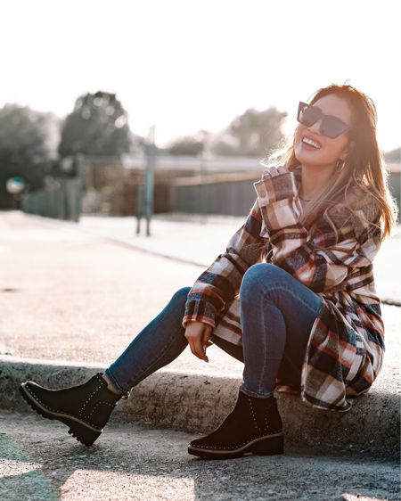 Nordstrom Anniversary Sale nsale  Plaid shirt jacket - XS  Abercrombie skinny jeans - 24 short  Dolce Vita black studded Chelsea boots - 6 / size down  Fall outfit   @liketoknow.it http://liketk.it/3jSdb #liketkit #LTKunder100 #LTKshoecrush #LTKsalealert