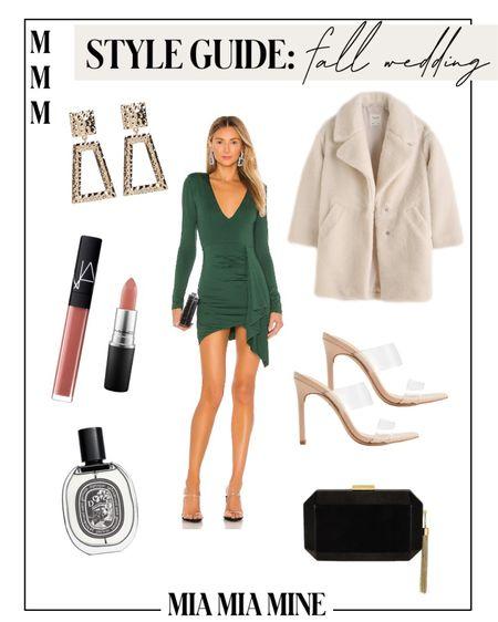 Fall wedding guest dresses - green dress, express clear strap heels,  #LTKstyletip #LTKwedding #LTKunder100