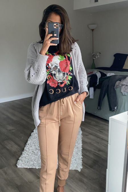 gloomy day WFH OOTD ☁️  love my new Always Stylish Mama pieces that came in! they're very TTS - I just sized up in some things (like this tee!) for a more relaxed/oversized look. I'm in a M for this tee.   #affordablefinds #designerinspired #designer #alwaysstylishmama #affordable #ootd #workfromhome #sweatpants   #LTKeurope #LTKSale #LTKstyletip