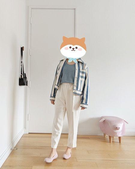 striped denim jacket, white high rise pants, pink flats, sustainable shoes, organic cotton sweater tank, spring outfit  #LTKstyletip #LTKshoecrush #LTKunder100
