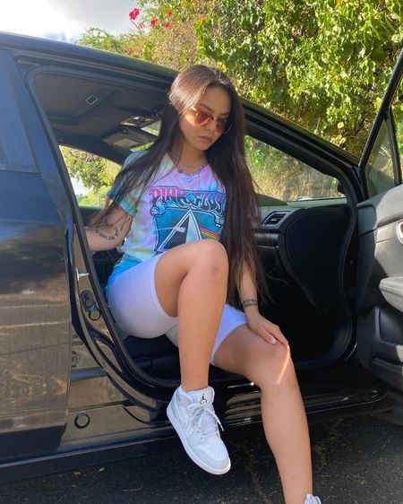 Tie dye Pink Floyd tee White biker shorts Sunglasses Jordan 1s Camo Mid High   casual, summer, outfit of the day, chill, everyday look, comfy look  #LTKfit #LTKshoecrush #LTKSeasonal