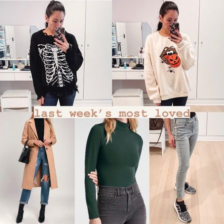 Last week's most loved in clothes:  - skull rib cage distressed black sweater under $25 - Halloween tongue screen print oversized sweatshirt under $20 - tan long coat that is perfect for fall under $100 - long sleeve mock neck bodysuit currently on sale - gray high-waisted knit jeans currently on sale  #LTKunder50 #LTKSeasonal #LTKsalealert