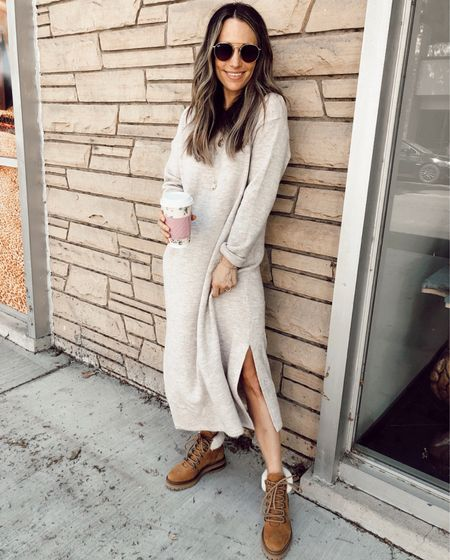 Oversized sweater dress; wearing my regular size; size down if you want it more fitted. Can easily pair with sneakers or mules.  From my fall wardrobe essentials post   #LTKstyletip