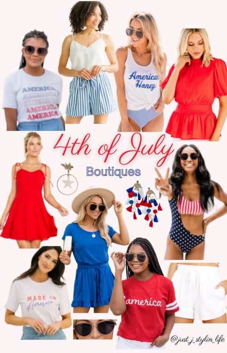 4th of July boutique finds - Pink Lily, Red Dress, Mint Julep boutiques. Red white and blue. Graphic tees, red blouse, red dress, striped paper bag shorts, blue romper, tassel earrings, patriotic swimsuit, sunglasses. http://liketk.it/3hMHP @liketoknow.it #liketkit #LTKstyletip #LTKunder50 #LTKunder100 #LTKfamily #LTKswim