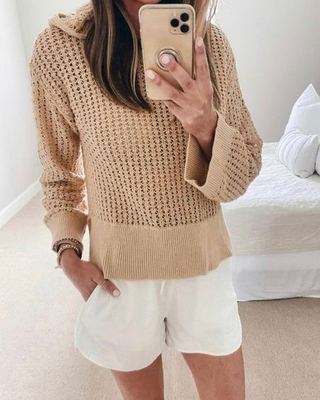 Walmart finds! This pullover is on sale and perfect for the beach or over a cami in the fall.  Wearing xs in the sweater and shorts.   @liketoknow.it http://liketk.it/3kMTg #LTKsalealert #LTKunder50 #LTKstyletip #liketkit