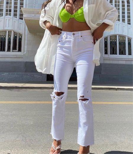 Such a cute outfit 😍😍    White pants, white denim pants, distressed jeans, ripped jeans, denim pants, bikinis, neon green bikini, white jeans, distressed ribbed jeans  #LTKunder100 #LTKstyletip #LTKsalealert