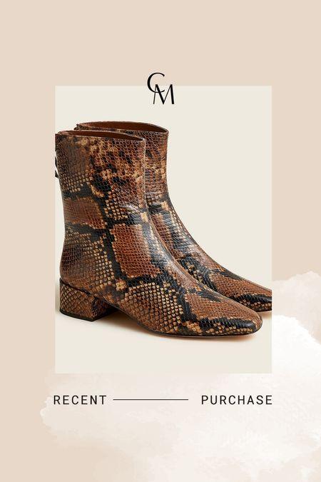 J.crew boots. J.crew snakeskin boots. On sale! Wearing the 5.5     #LTKsalealert #LTKshoecrush