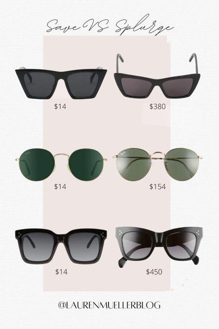 save vs splurge sunglasses // budget friendly sunglasses // designer dupe sunglasses // sunglass sale   http://liketk.it/3amY9 #liketkit @liketoknow.it