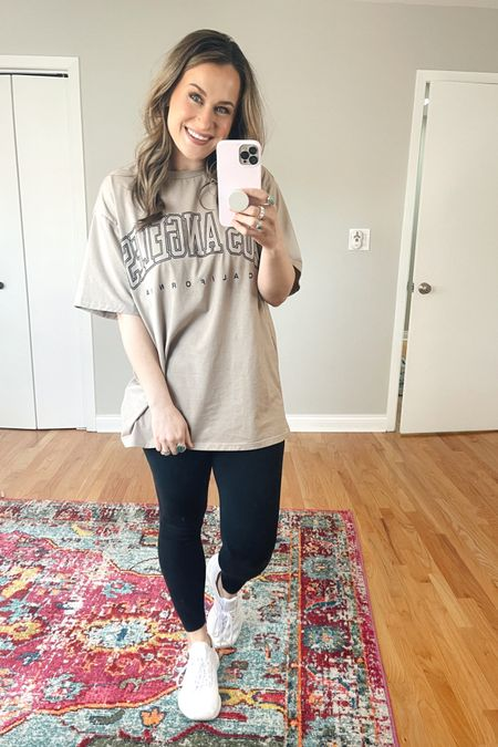 Amazon finds! This oversized graphic tee and lululemon dupe leggings are both amazon fashion finds! The perfect comfy outfit! Also linked my white sneakers! http://liketk.it/3bDVq @liketoknow.it #liketkit #LTKfit #LTKshoecrush #LTKunder50