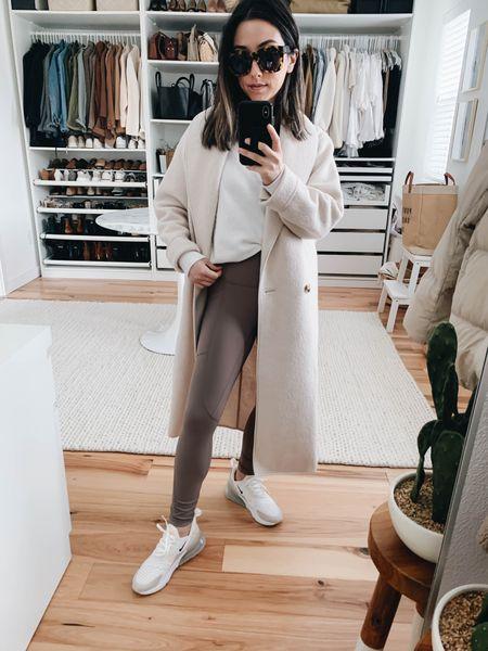 Athleisure. Beige athleisure wear.   Coat - Aritzia xxs (can't be linked) Sweatshirt - Anine Bing xs (old) Leggings - Everlane xs Sneakers - Nike 6 Sunglasses - Anine Bing   http://liketk.it/38q0W #liketkit @liketoknow.it