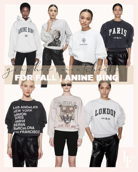 Fall style. Graphic sweatshirt. Anine Bing.   #LTKstyletip #LTKSeasonal