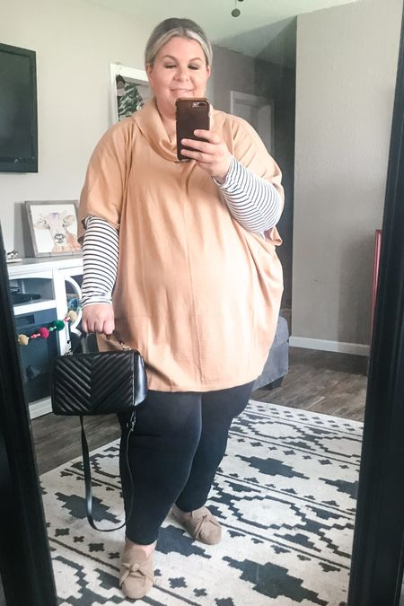 This plus size fall outfit is full of Walmart finds! My favorite $16 jeggings and this gorgeous new cowl neck top from the Eloquii Elements line are a perfect plus size work outfit! My designer inspired bag is Walmart, too!   #LTKstyletip #LTKunder50 #LTKcurves