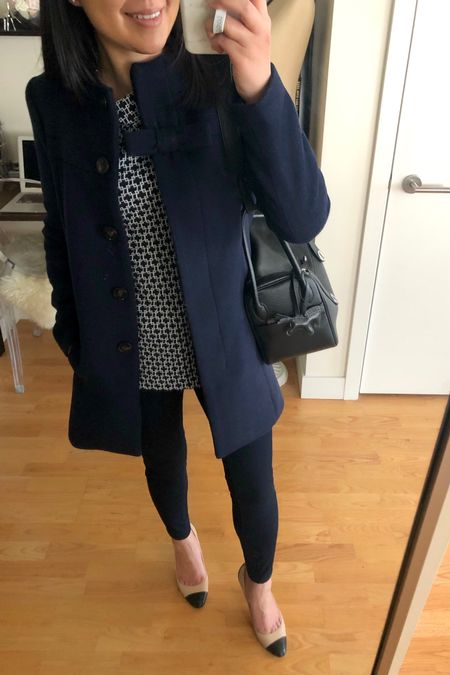This bow coat is back at J.Crew Factory in black and it's on sale! I took size 0. Exact outfit details in the January 27, 2019 post on www.whatjesswore.com. @liketoknow.it http://liketk.it/2GzRO #liketkit #LTKsalealert #LTKworkwear #LTKstyletip