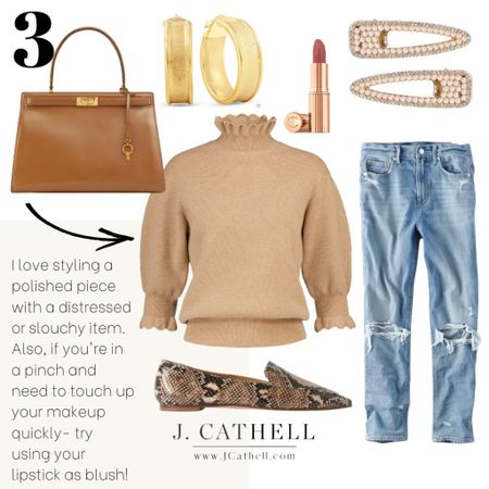 This is right up my alley! I love pairing a polished piece with something a bit more casual like the distressed denim jeans. The ruffles on the sweater are just the right amount of feminine to balance. http://liketk.it/31Iyp #liketkit @liketoknow.it #LTKstyletip #LTKsalealert #LTKitbag